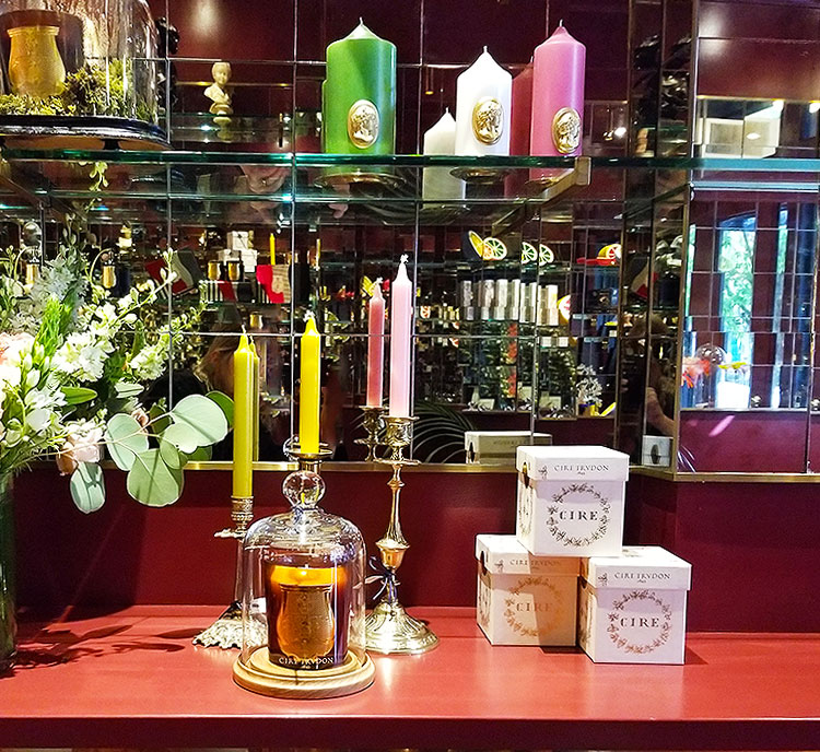 Candles for sale at Cire Trudon in Nolita
