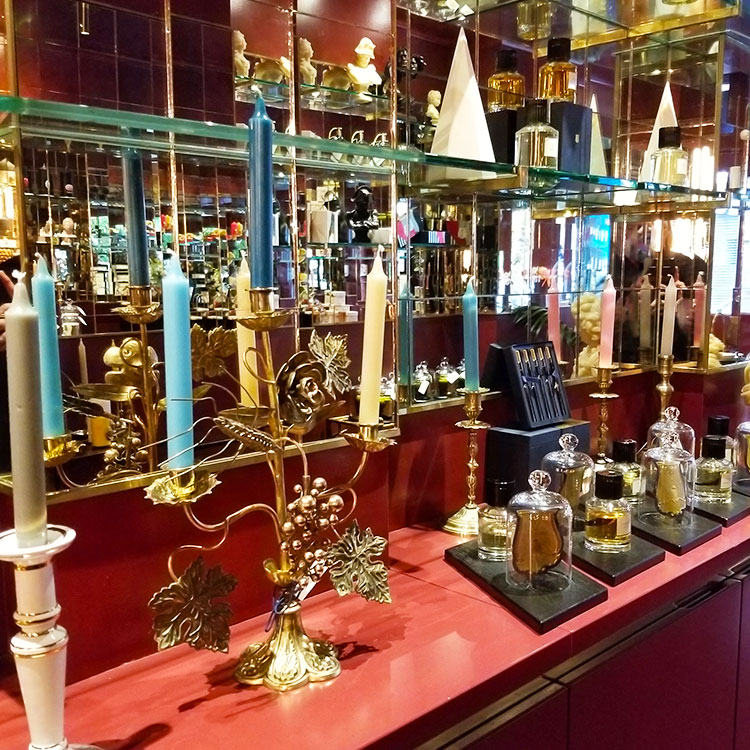 Antiques for sale iin the Cire Trudon Boutique