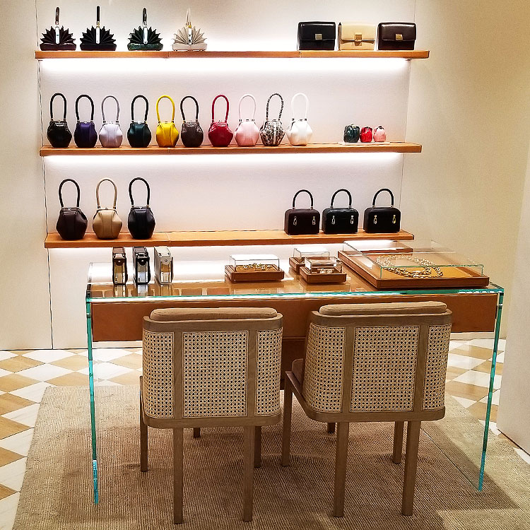 Gabriela Hearst handbags in her NYC boutique