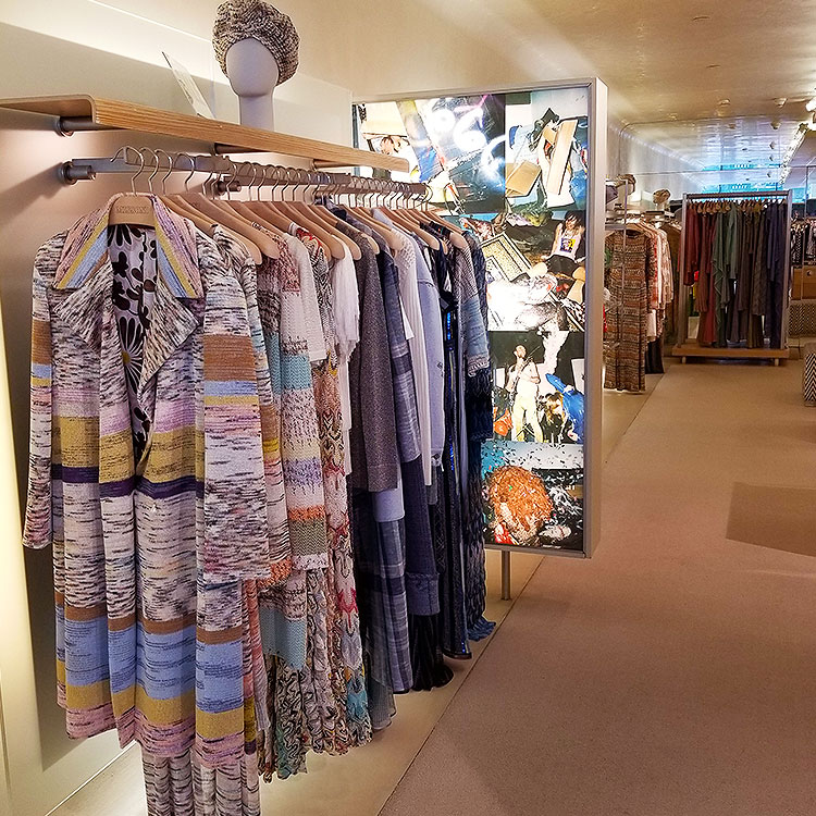 Summer clothing in the Missoni boutique in NYC