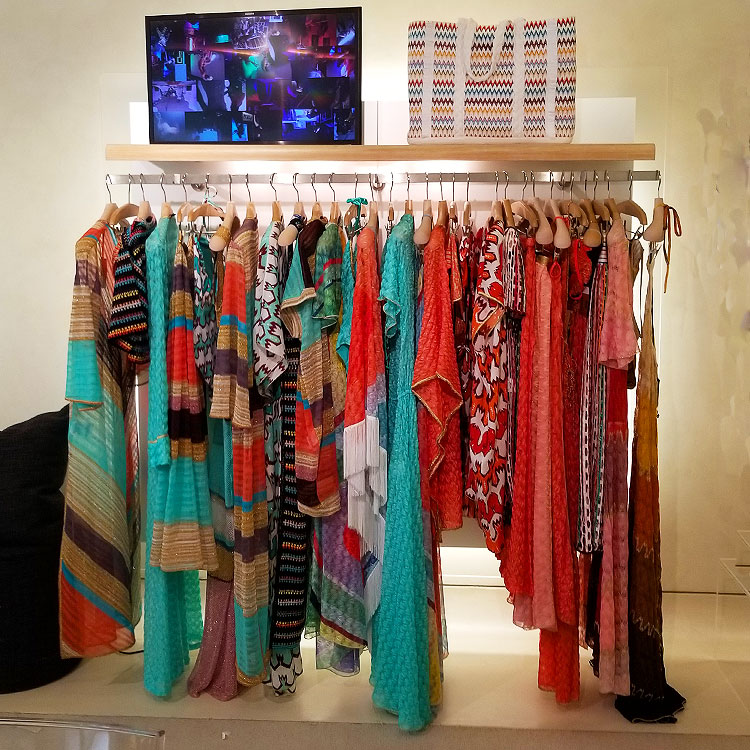 Cover ups in the Missoni Boutique