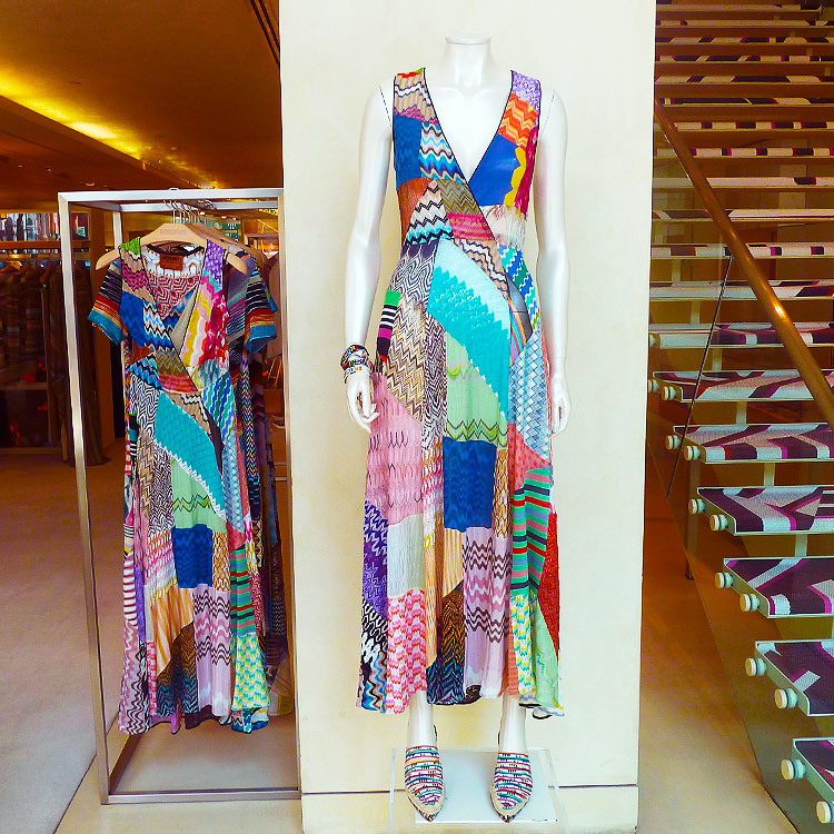 Missoni patchwork dresses in the boutique