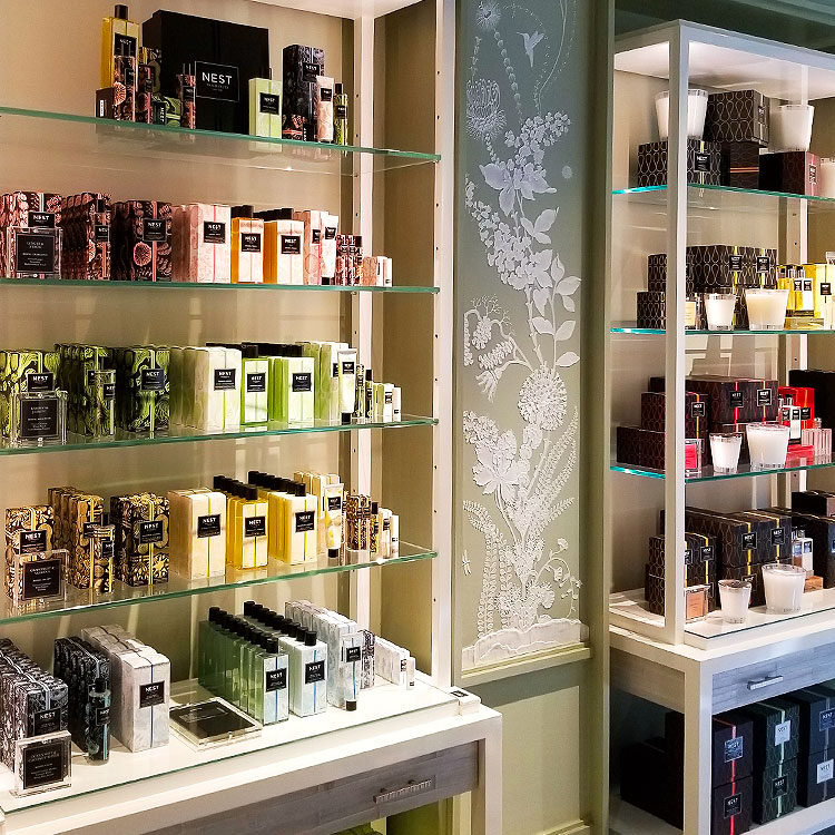 Perfumes line the walls of the Nest Fragrance Boutique
