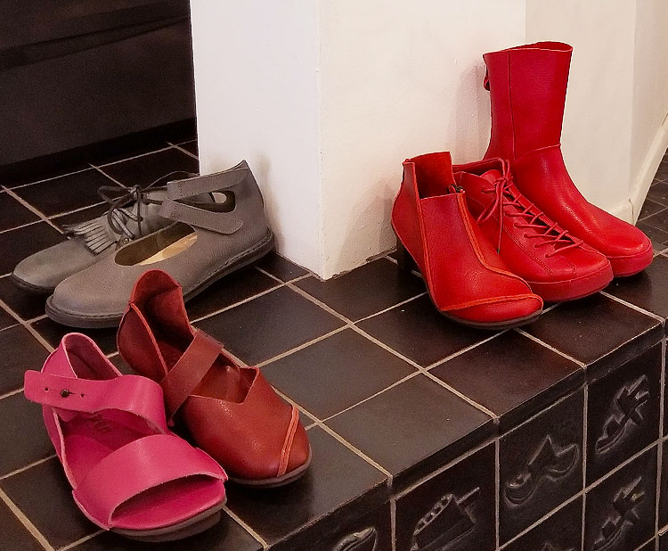 Trippen red sandals and boots
