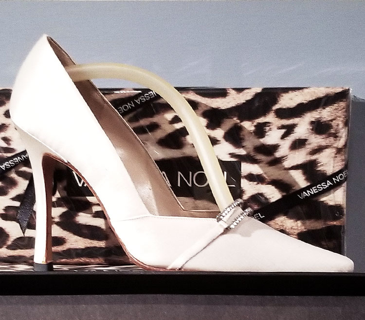 White satin shoe at the Vanessa Noel boutique