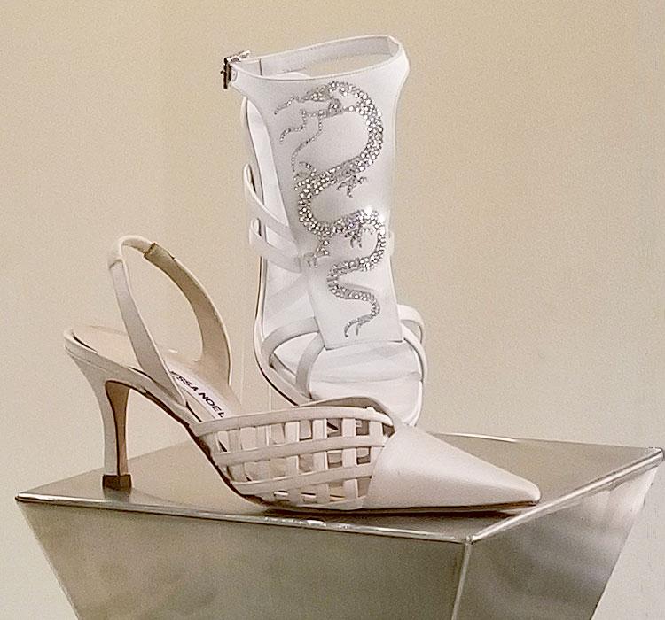 White satin shoes from Vanessa Noel