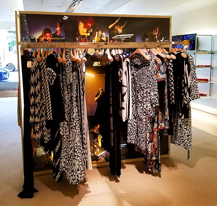 Black and white clothing in the Missoni store