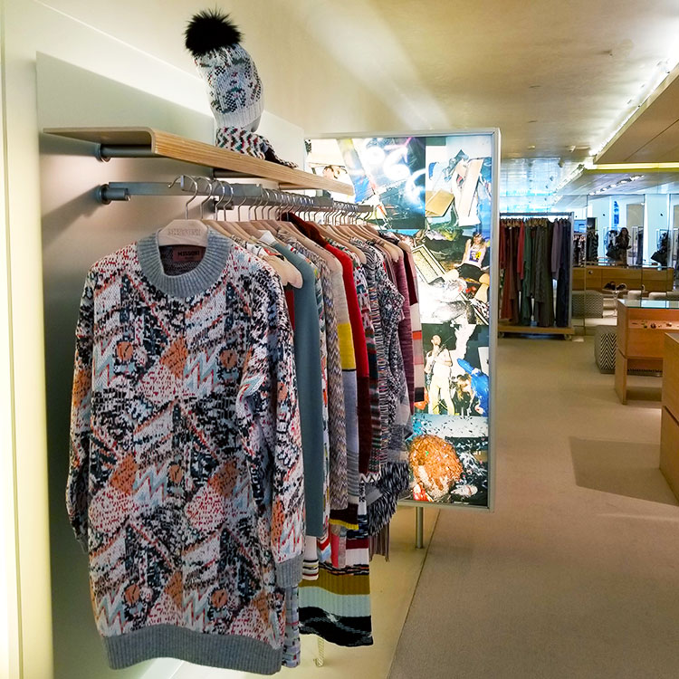 Fall clothing in the Missoni NY store