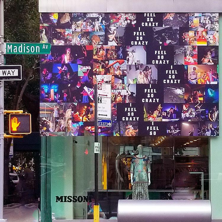 The window of the Missoni Madison Avenue Boutique