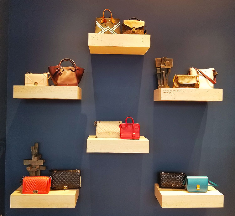 Bags on display at the Realreal