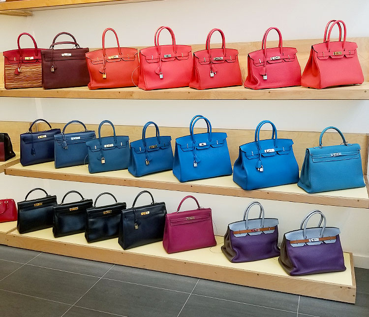 A wall of Hermes Bags