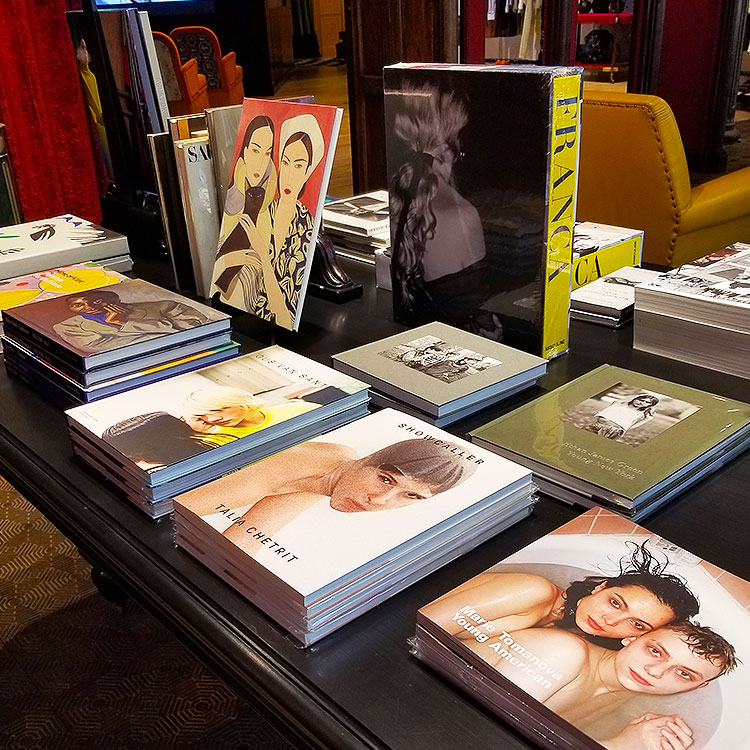 Photography books for sale at Gucci Soho