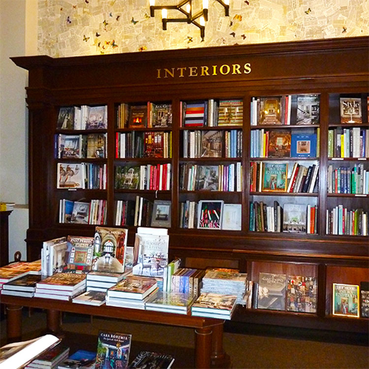 Books on interior design at Rizzoli in NYC