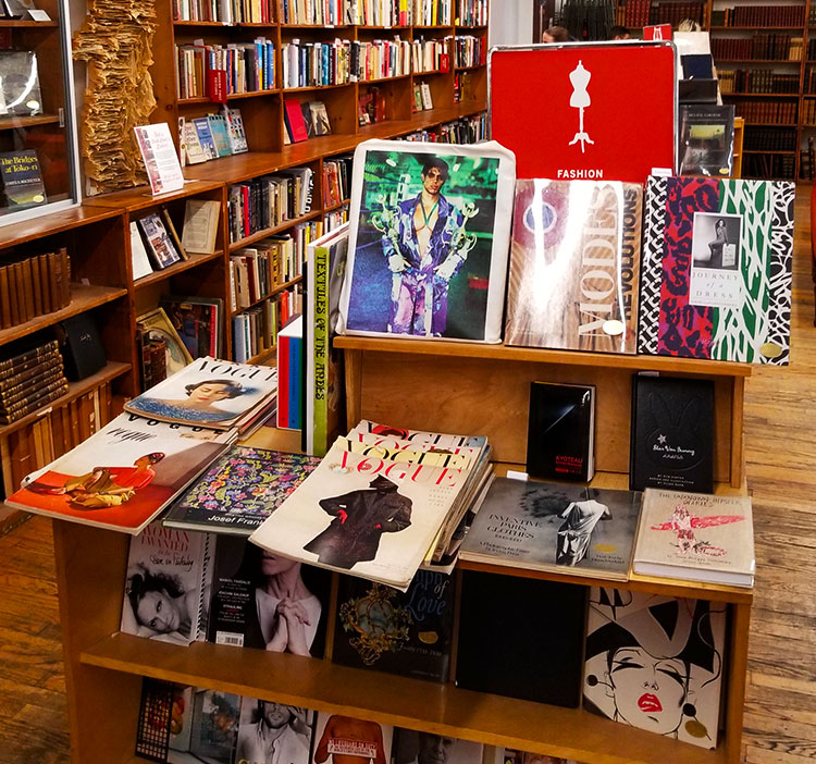 Vintage fashion magazines and books at the Strand in NYC