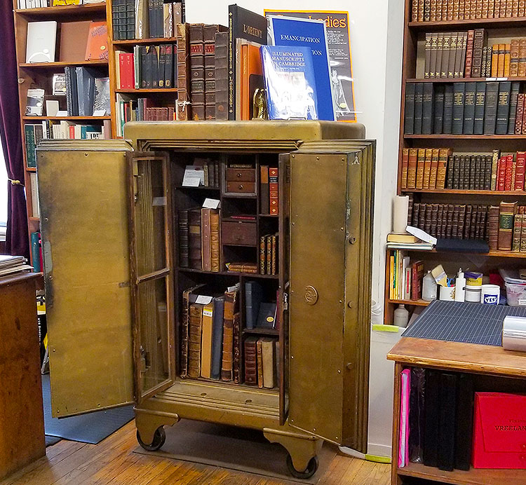 Rare books in a safe at the Strand Bookstore