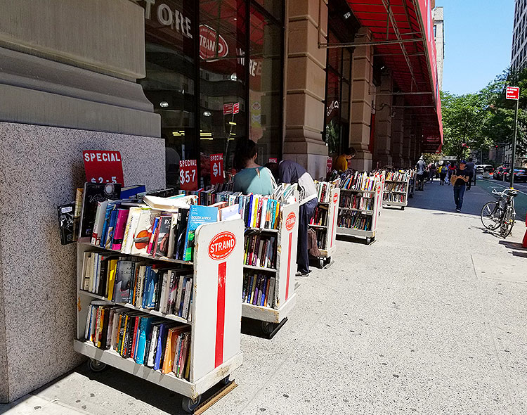 Books for sale outside the Strand bookstore