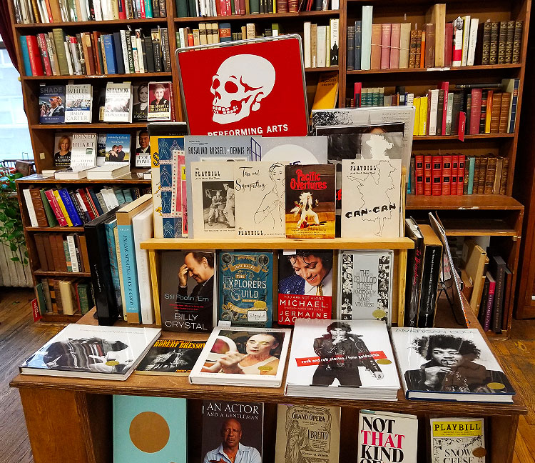 Books on perfomers and thater arts at the Strand Bookstore