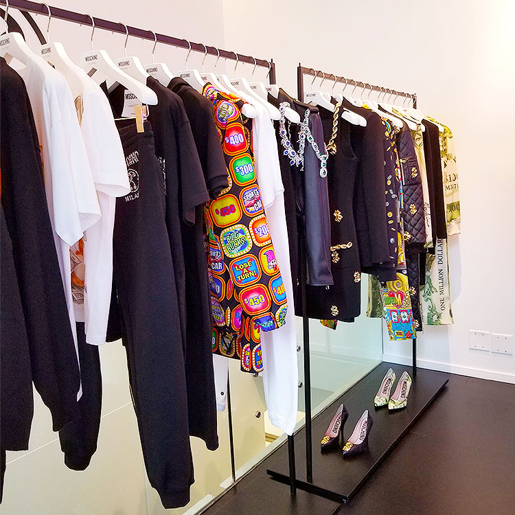 Clothing for sale at the Moschino boutique