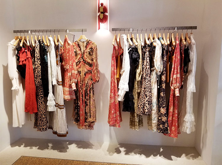 Dresses in the Zimmerman boutique