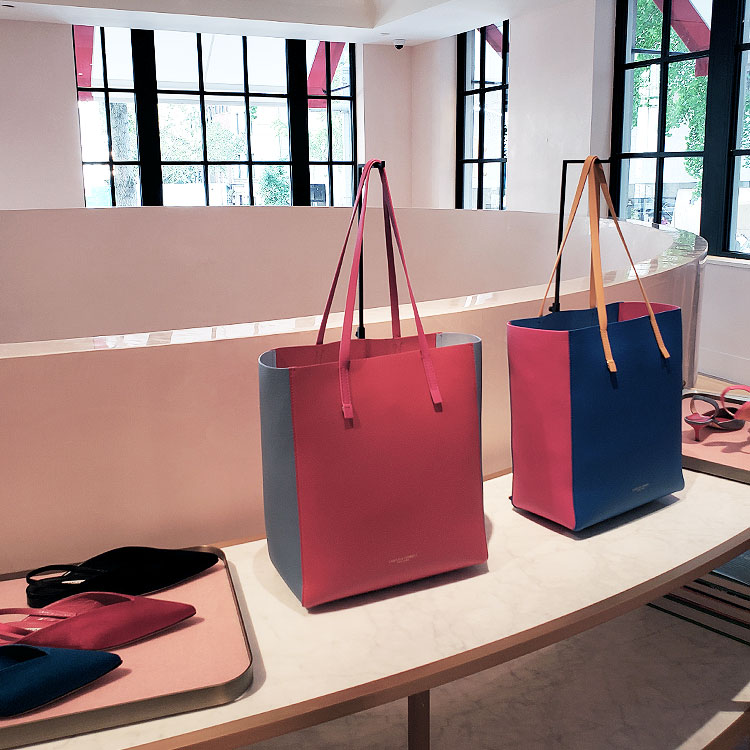 Tote bags and shoes in the Carolina Herrera Boutique in NYC