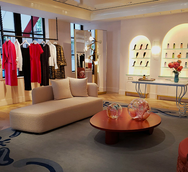 The back of the second floor in the Carolina Herrera Boutique in NYC