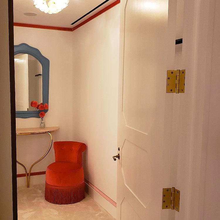 The dressing room in the Carolina Herrera Madison Avenue boutique