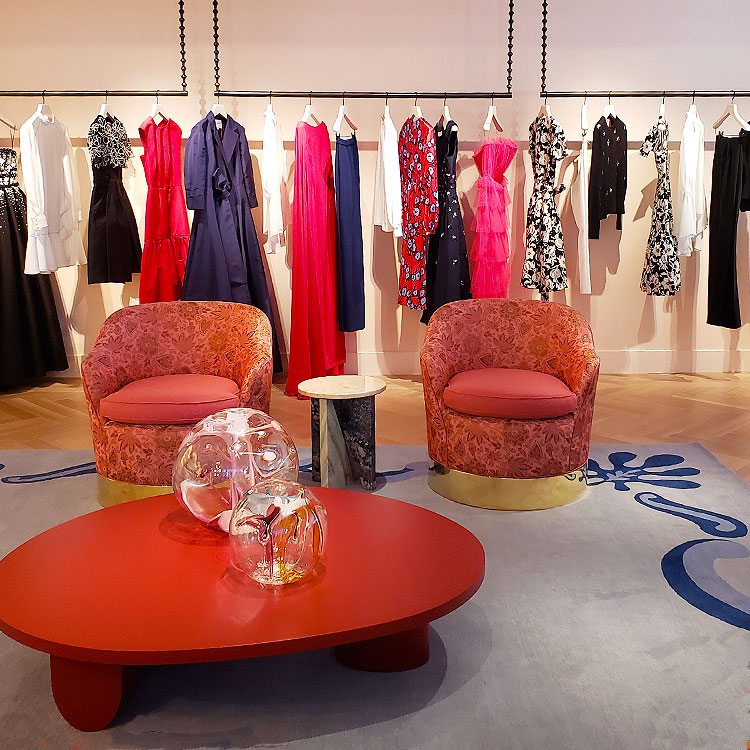 Clothing in the Carolina Herrera boutique in NYC