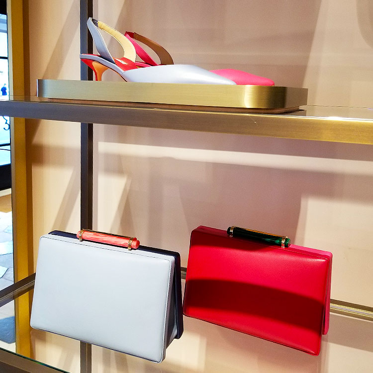 Shoes and Bags on display in the Carolina Herrera boutique in NYC