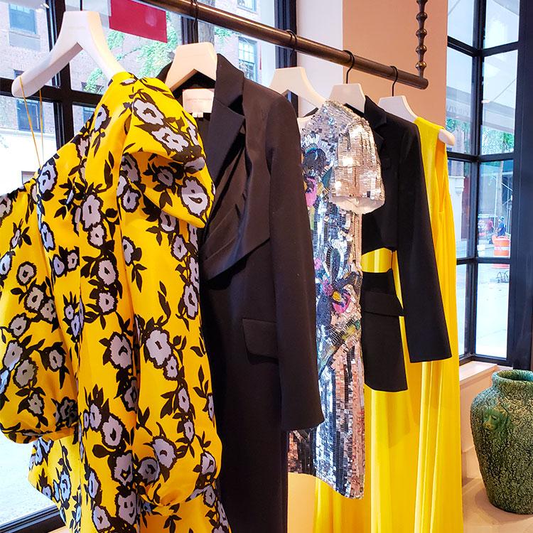 Yellow dresses in the Carolina Herrera Boutique on Madison Avenue