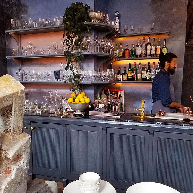 The bar in The Mercerie in Soho