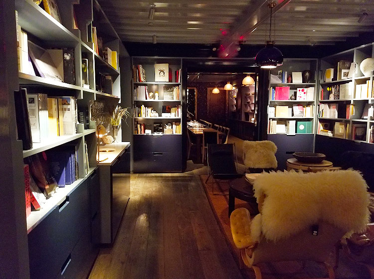 The private dining room and book shop at the Guild