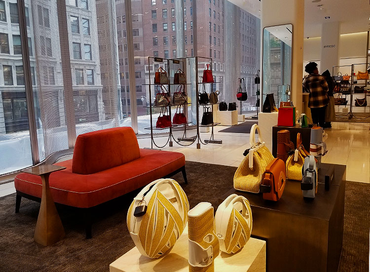 Luxury handbags on the 1st floor of Nordstrom