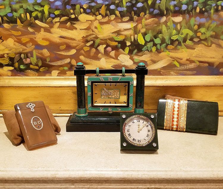 Vintage clocks and card cases for sale on Madison Avenue
