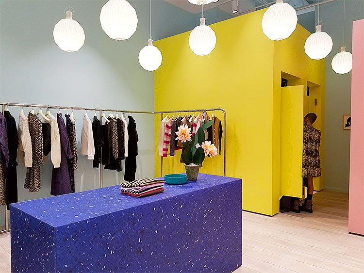 Design inside the Ganni store in Soho