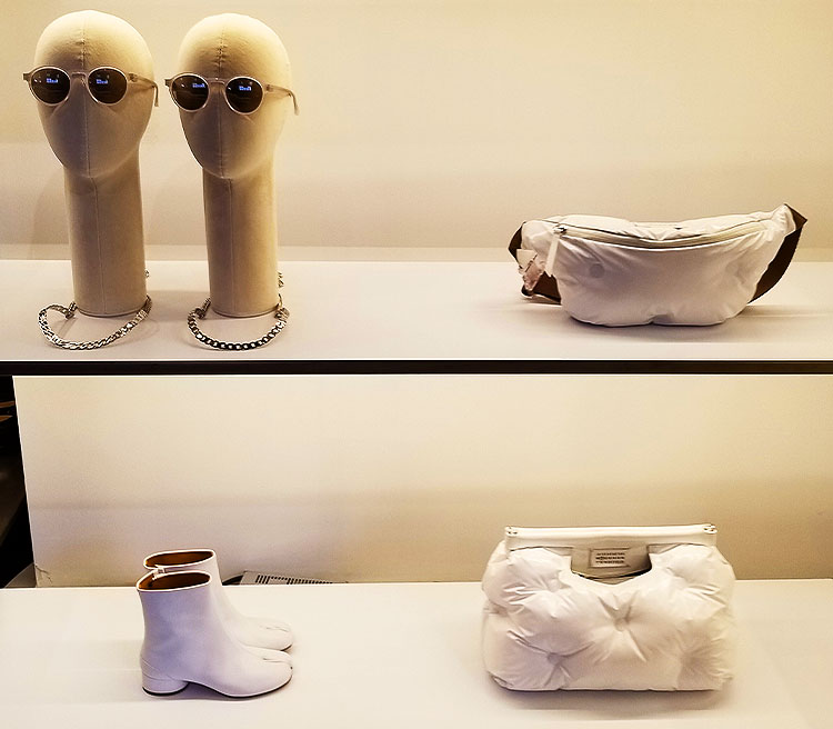 White accessories from Margiela in the Soho store.