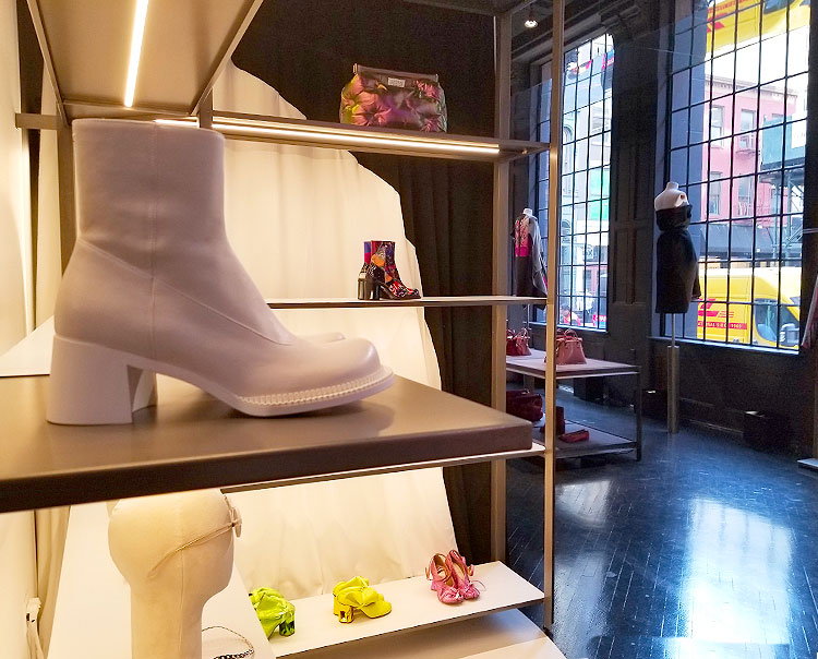 Shoes, boots, and bags in the Margiela boutique