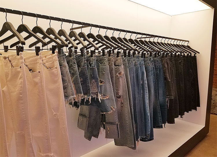 Jeans and distressed jeans in the Soho boutique