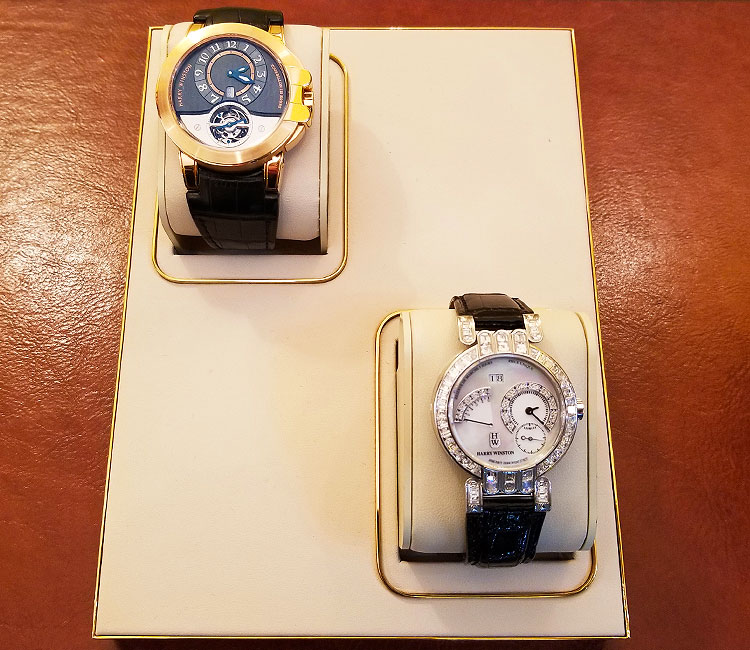 A pair of Harry Winston watches for sale on Madison Avenue