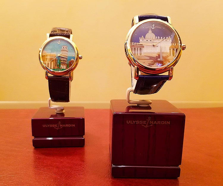 Nardi watches with scenes of Venice and Pisa for sale on Madison Avenue