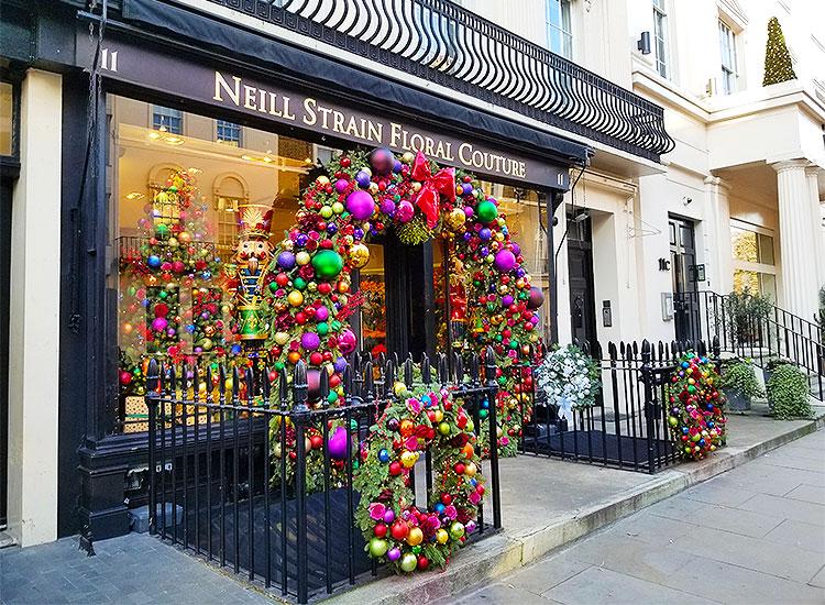 A flower shop on West Halkin Street in London