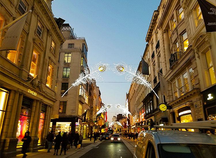 Old Bond Street Christmas Lights at Dusk.
