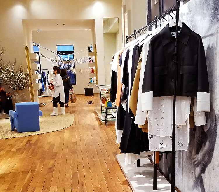 Women's clothing in the Loewe Store.