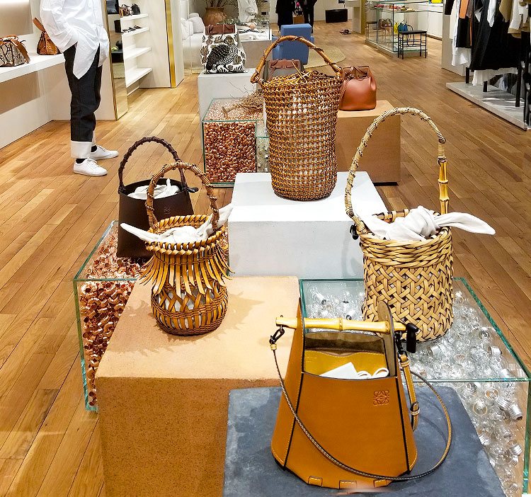 Hand Crafted Leather and Straw Bags in the Loewe store