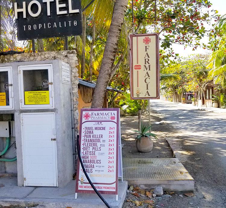Famacia sign in Tulum