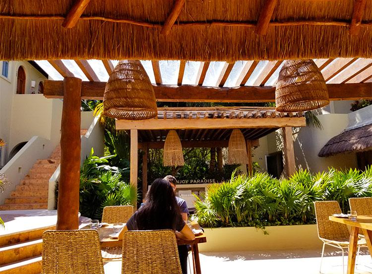 Alea's palapa shaded restaurant.