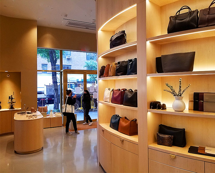 Looking into a Madison Ave store.