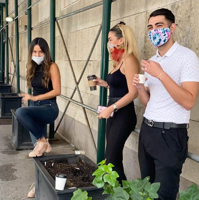 Karen Klopp, Hilary Dick, New York Social Diary shop Madison Avenue, New York, people wearing masks.