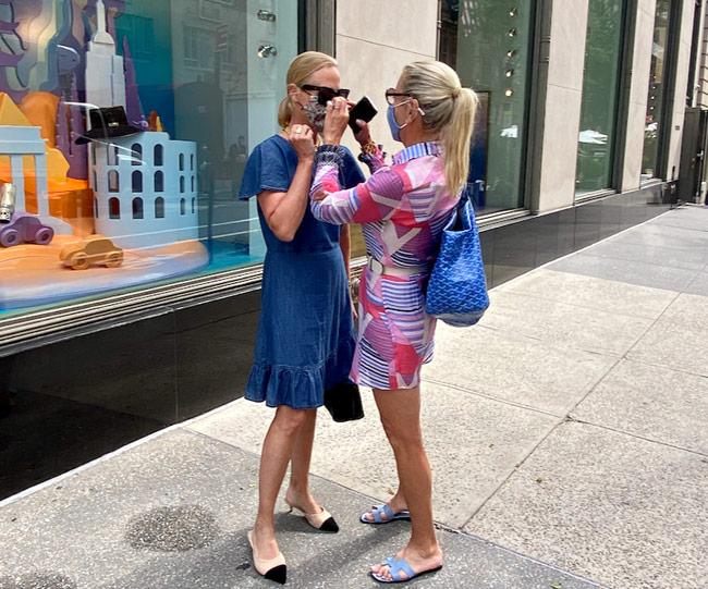Karen Klopp, Hilary Dick, New York Social Diary shop Madison Avenue, New York, Catherine Carey, Hermes