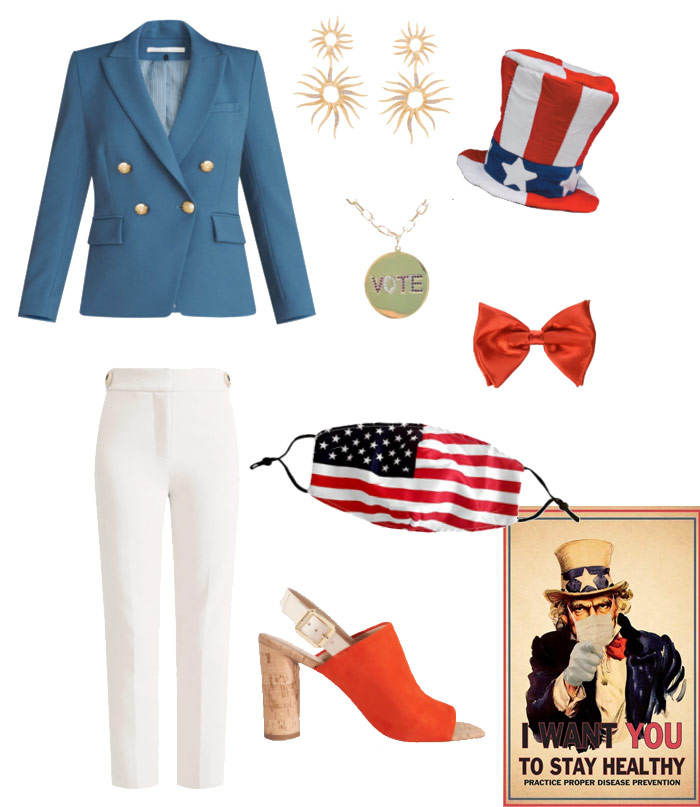 Karen Klopp & Hilary Dick article for New York Social Diary What to wear Halloween 2020.  Uncle Sam costume.