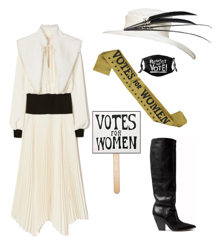 Karen Klopp & Hilary Dick article for New York Social Diary What to wear Halloween 2020.  Suffragettes